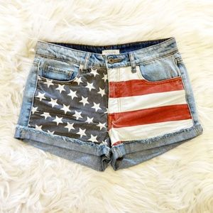 Forever21 Premium Denim Flag Jean Shorts